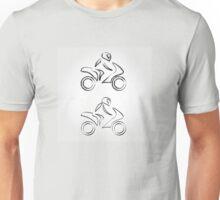 A biker on a motorbike with sketch effect  Unisex T-Shirt