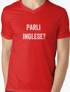 Do you speak English? (Italian) White Mens V-Neck T-Shirt