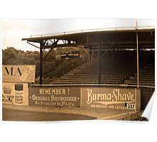 Baseball Field & Burma Shave Sign Poster