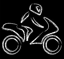 A biker on a motorbike with sketch effect  by Shawlin Mohd