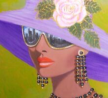EXOTIC LADY WEARING SUNGLASSES by Dian Bernardo