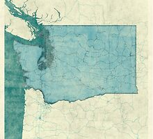 Washington Map Blue Vintage by HubertRoguski