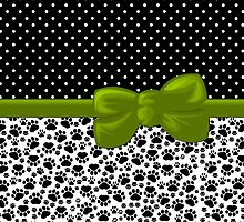Dog Paws, Traces, Polka Dots -  Ribbon, Bow - White Black Green by sitnica