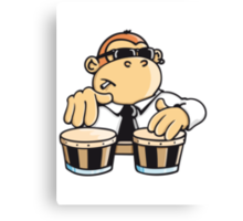 The cool monkey plays the bongos Canvas Print