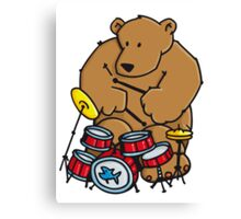 The bear plays drums Canvas Print