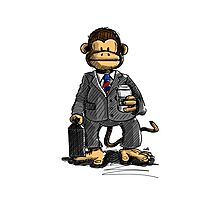 The Business Monkey drinks a coffee to go Photographic Print