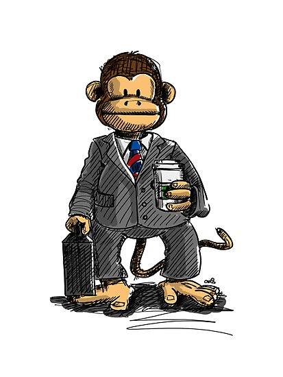 The Business Monkey drinks a coffee to go by chrisbears