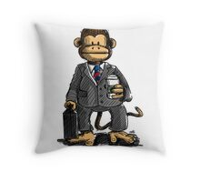 The Business Monkey drinks a coffee to go Throw Pillow