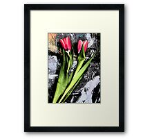 Tulips On Painting Table Framed Print