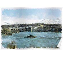 Menai Bridge and Snowdonia Winter Scene Poster