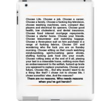 Trainspotting speech iPad Case/Skin