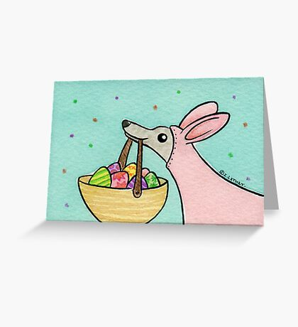 Greyhound Easter Bunny Greeting Card