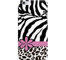 Black and White Zebra Print with Hot Pink Stripe and Flower iPhone Case/Skin