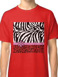 Black and White Zebra Print with Hot Pink Stripe and Flower Classic T-Shirt
