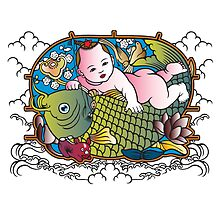 Baby Buddha & Fish by Zehda