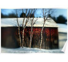 A Wooden Barn at Sunset Poster