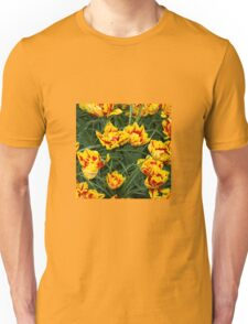 Red yellow speckled Tulips  Unisex T-Shirt