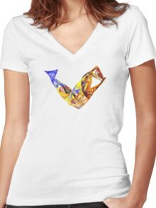 Fractal - Leaping Fish  Women's Fitted V-Neck T-Shirt