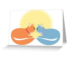 Two Cats And The Moon Greeting Card