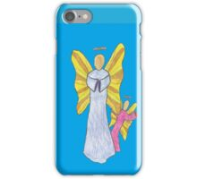 Shy Angel on a Blue back ground iPhone Case/Skin