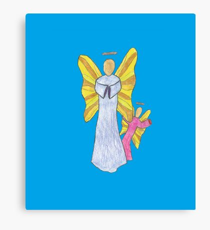 Shy Angel on a Blue back ground Canvas Print