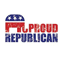 Proud Republican Elephant Distressed Tan Photographic Print