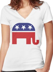 Republican Original Elephant Women's Fitted V-Neck T-Shirt
