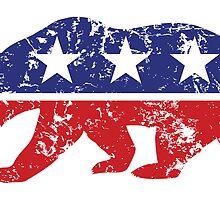California Republican Bear Distressed Plain by Republican