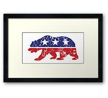 California Republican Bear Distressed Plain Framed Print