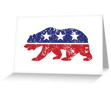 California Republican Bear Distressed Plain Greeting Card