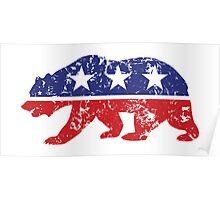 California Republican Bear Distressed Plain Poster