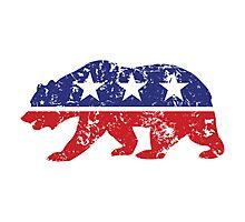 California Republican Bear Distressed Plain Photographic Print