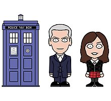 Twelfth Doctor, Clara and TARDIS card by redscharlach
