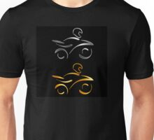 Abstract drawing of a motorbike and biker wearing helmet  Unisex T-Shirt