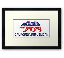 California Republican Political Bear Distressed Framed Print
