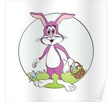 Easter Bunny Purple Rabbit Cartoon Poster