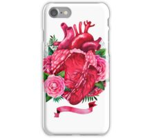 Watercolor heart with floral design iPhone Case/Skin