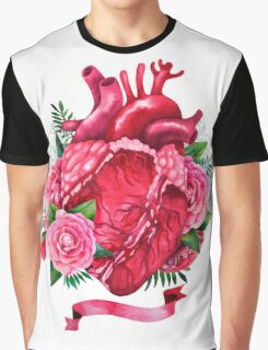 Watercolor heart with floral design Graphic T-Shirt