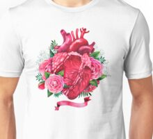 Watercolor heart with floral design Unisex T-Shirt