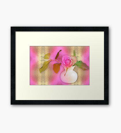 Textured Romantic Pink Rose  Framed Print