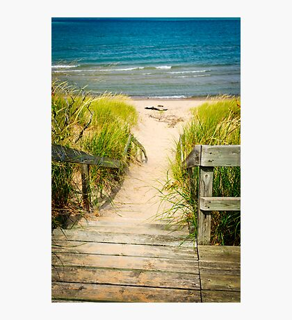 Wooden stairs over dunes at beach Photographic Print