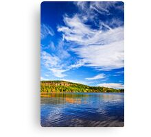 Fall forest and lake Canvas Print