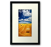Farm field with hay bales Framed Print