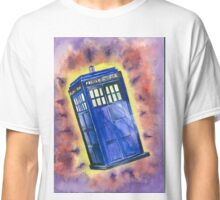 Tardis in flight inspired by Who? Classic T-Shirt