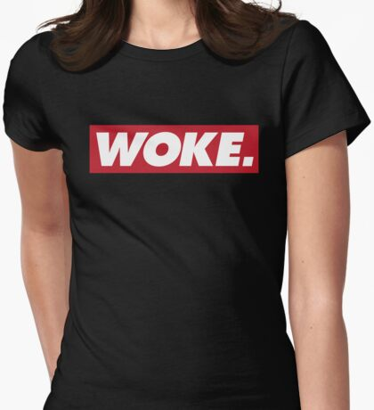 "Red ""Woke"" Logo Womens Fitted T-Shirt"