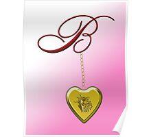 B Golden Heart Locket Poster