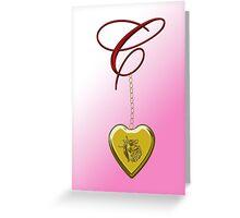 C Golden Heart Locket Greeting Card