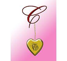 C Golden Heart Locket Photographic Print