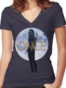 Emma Swan/The Savior - Once Upon a Time Women's Fitted V-Neck T-Shirt