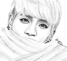 Jonghyun with Scarf Drawing by Shannon Rudder